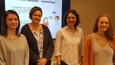 Bilde: Fra venstre: Christina Kildal (KBT), Rita Oja (Stangehjelpa), Birgit Valla (Stangehjelpa) og Johanne Bakken Moe (KBT)